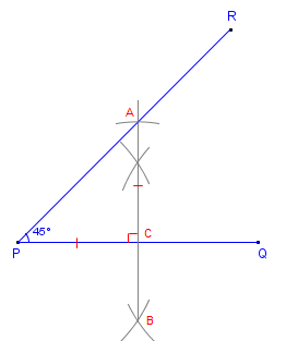 how to construct draw a 45 degree angle with compass and