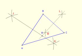 how to construct circumcenter of a triangle with compass and