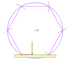 how to draw a hexagon outside a circle
