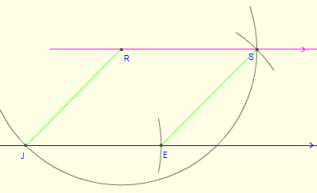 how to construct draw a parallel through a point with compass and